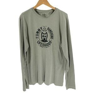Life is Good T-Shirt Tee Long Sleeve Top Shirt Med